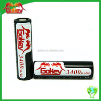 Top Sale Gokey 18650 lithium battery 3.7V 3400mAh rechargeable lithium batteries fro E-CIG /LED light