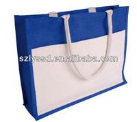 Stuffly Handle Reusable Burlap Bag with Canvas Pocket