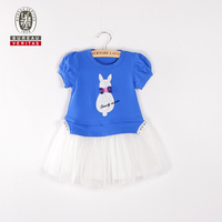 Baby dress 2012 short sleeve and tulle skirt ready made kids dress