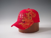 Red 100% cotton brushed long brim golf cap with embroidery logo