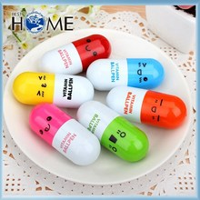 Lovely Cartoon Expression of Six Color Pill Promotional Plastic Ballpen with Custom Logo