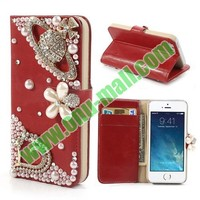 Diamond Flower Pattern Magnetic Flip Stand Leather Case for iPhone 5S / 5 with Card Slots