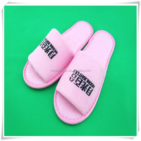 open toe pink color terry doctor slipper print custom logo