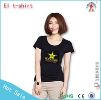EL flash tshirt which sound effect t-shirt and sound activated tshirt