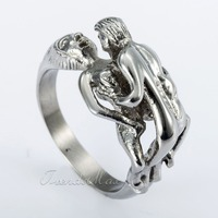 Trendsmax Punk Cool Have Sex Design Silver Tone 316L Stainless Steel Ring Mens Boys Wrapped Ring