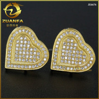 wholesale hot sale design 925 sterling silver 18k yellow gold lab diamond iced out stud earrings screw back
