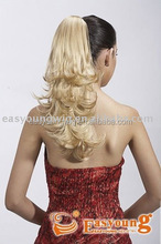 Wholesale Blonde synthetic claw clip-in fashion ponytails, drawstring hair pieces