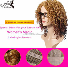 Best selling kinky curly top kanakalon synthetic hair wigs, blonde curly wig synthetic