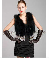 CX-G-B-79A Ladies Turkey Feather Fashion Vest Multicolor