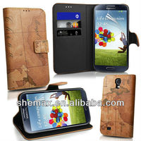 mobile phone leather case, Guangzhou high quality retro world map wallet leather flip case for samsung galaxy s4