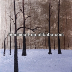 Trees in winter landscape oil painting