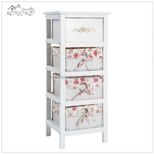 Custom decorative compact 4-drawer white wicker basket chest cabinets