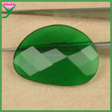 Custom irregular shape faceted flat back synthetic emerald glass gems for earrings