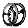 2014 YISHUNBIKE strong& stiff OEM 56mm road tri spoke carbon wheels 700c clincher chinese carbon wheels