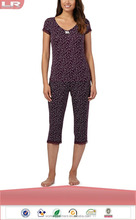 OEM Popular Purple spotted Pajama Tops and Bottoms/Adult Sleep Suits/Lounge Wear