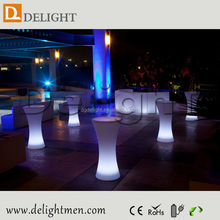 Low price battery power illuminated mobile plastic light up cocktail tables for garden