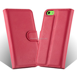 Premium Lichee Patern Wallet Phone Case Cover With Stand For Apple Iphone 5C
