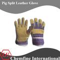 amarillo de cerdo dividir guante de cuero patch palm guantes