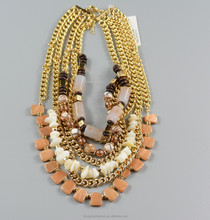 fashion style multi-layer chain and stone with gold plating necklace