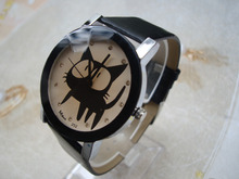 New Fashion 2015 top Brand Big Eyes Black Cat Watch for kids