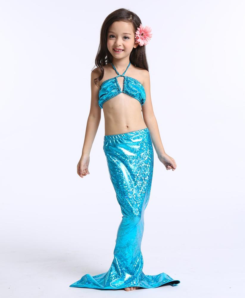 3pcs kids mermaid tail swimmable swimwear swimsuit girls