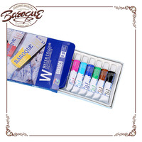 Chinese Factory Wholesale Children's School 12 Color 12ml Watercolor Box With Brush Artist Acrylic Paint Set