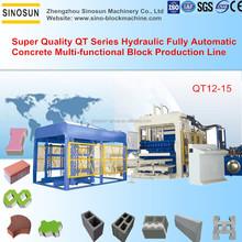 Super quality large scale SINOSUN QT12-15 hydraulic full auto concrete multi purpose brick making machine price list