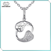High Quality 925 Silver rose best friends forever pendant