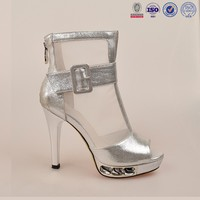 2015-16 newest stiletto high heel silver leather superior ankle boots platform sandals women footwear