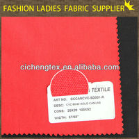 shaoxing textile pants/shoes/bags fabric cvc 60/40 solid dyed canvas fabric