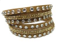 Fashionable Adjustable Button Rivet Inlay With Rhinestone Bracelet Wrap Bling Leather Rhinestone Bracelets