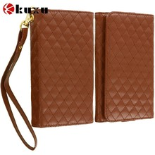 Wholesale Brown Luxury Leather Wallet Pouch Case Cover with Slots for Samsung, fashion hot sale leather cell phone case cover