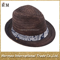 100% mat grass hat popular straw fedora hat