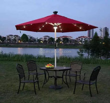 Hot selling led light middle pole patio umbrella with solar manufacture in Guangdong China