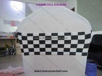 black and white checked spandex chair sash/band