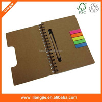 Wholesale recyled cover writing pad with ball pen and pet index