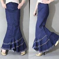Girls elegant Jean flower dresses / long fishtail skirt for lady