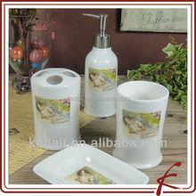 Stoneware Ceramic Bathroom Accessories 4pcs For Home