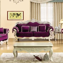 Elegant Purple Gold Leaf Antique Sofa 3+2+1 Classic Home Furniture Living Room