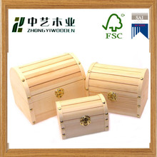 eco friendly pine custom wholesale decorative natural color unfinished wooden chest with lid