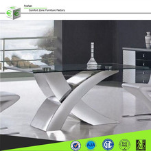 Unique X sharp metal dinning table with glass top, home furniture