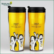 12oz 350ml Double Wall Plastic Paper Insert Travel Mug with Lid