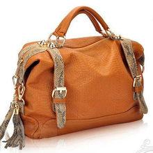 Chegada nova cobra bolsa de couro e design borla mulheres bolsa de couro/ombro saco