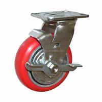 "caster with brake 5"" polyurethane 125mm swivel type caster pu wheel"
