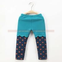 2014 New Kids Autumn Winter Thicken Warm Leggings, Children Girl Polka Dot Deisng Fleece Inside Party Pants, Age 3-8X, Blue