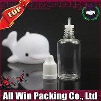 popular top quality 30ML clear PET plastic bottle with childproof cap white or black and long thin tip
