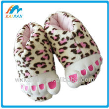 leopard funky feet indoor warm novelty slipper