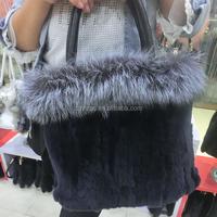 Women Real rex rabbit fur leather handbag with fox fur
