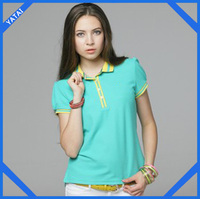 2014 Newest design ladies polo collar t-shirt