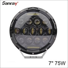 7 inch led driving light high-low beam round 75W led headlight with angle eyes round work light for Jeep/SUV/ATV/UTV